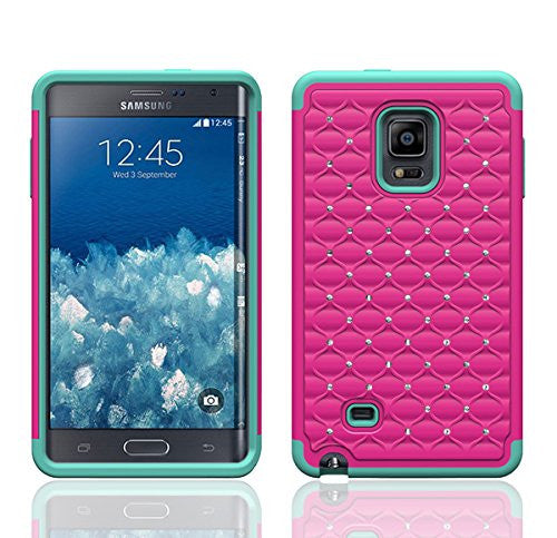 samsung galaxy note 4 diamond hybrid case - hot pink/teal - www.coverlabusa.com