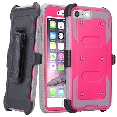 Apple iPhone 7 Plus Case | Heavy Duty 3-in-1 Defender Holster Shell Combo | Pink - www.coverlabusa.com