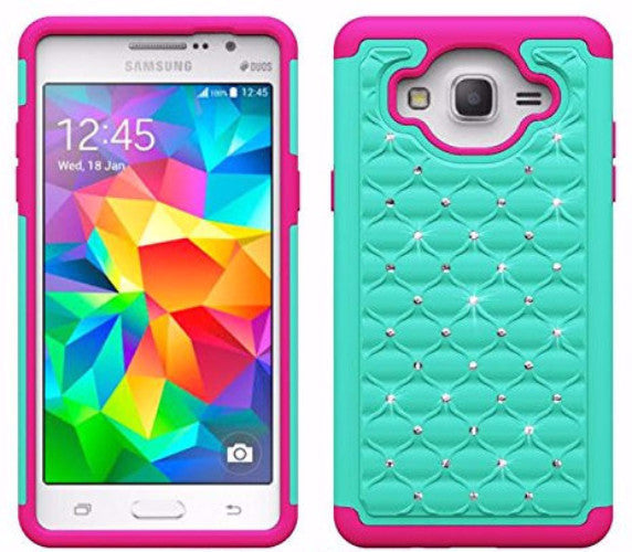 samsung galaxy on5 rhinestone crystal hybrid case - teal/hot pink - www.coverlabusa.com