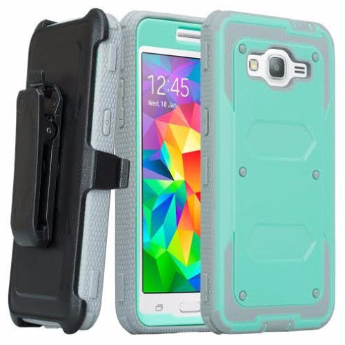 galaxy on5 case heavy duty holster shell combo - teal/grey - coverlabusa.com