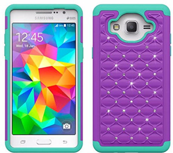 samsung galaxy on5 rhinestone hybrid case - purple/teal - www.coverlabusa.com