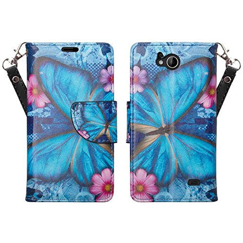 zte tempo blue butterfly wallet case - www.coverlabusa.com