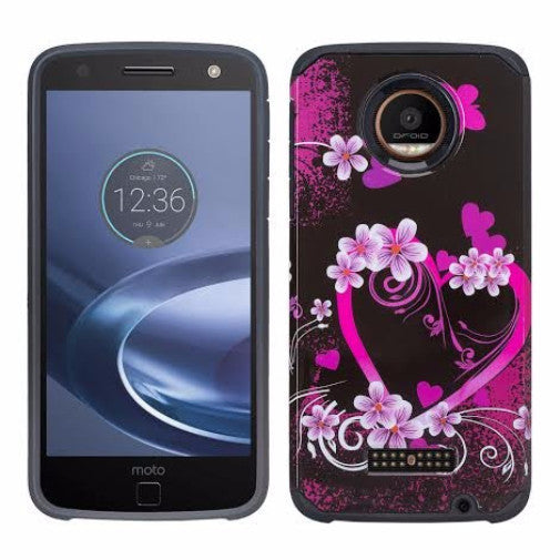 Moto Z Droid Hybrid Dual Layer Slim Case - Flower Hearts - www.coverlabusa.com