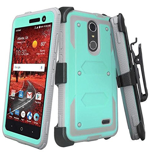 on sale b5aaf de2a6 ZTE Blade Spark Z971, ZTE ZMAX One, ZTE Grand X4, X 4 Case, Rugged  [Built-in Screen Protector] Heavy Duty Holster Shell Combo Cover - Teal