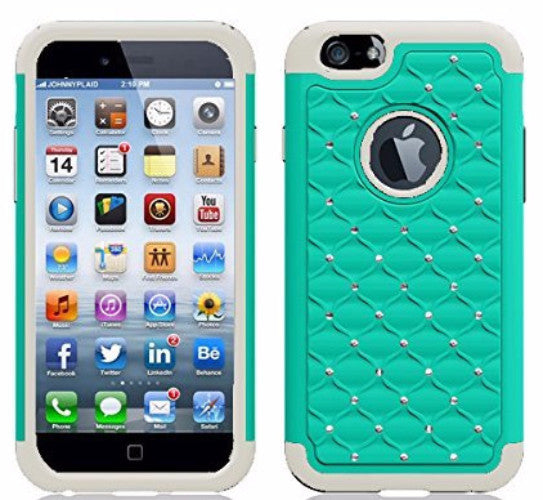 iphone 6s case, apple iphone 6 diamond rhinestone hybrid case - teal - www.coverlabusa.com