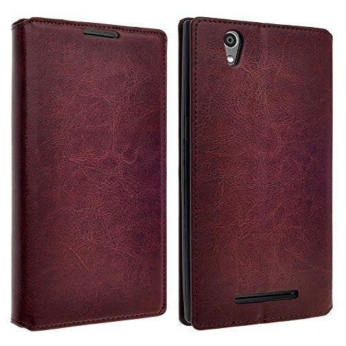 ZTE Lever LTE | Z936L Case, Slim Magnetic Flip Wallet Kickstand Cover - Brown