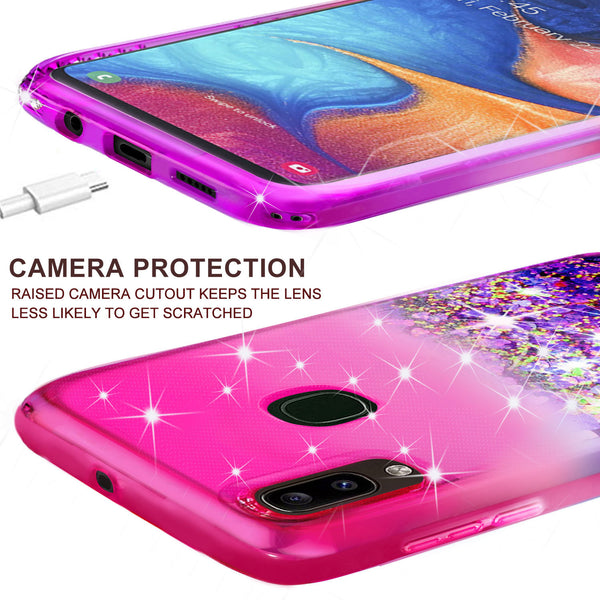 glitter phone case for alcatel 3v (2019) - hot pink/purple gradient - www.coverlabusa.com
