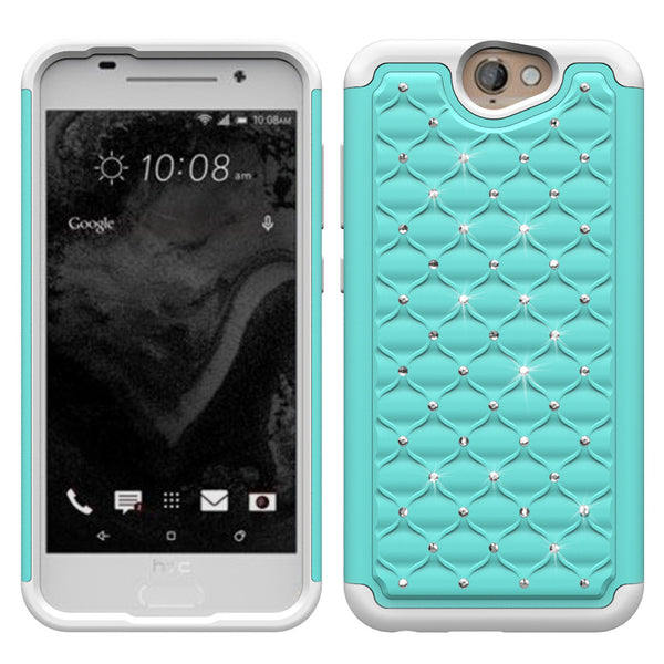 HTC One A9 Rhinestone Case -Baby Teal/White - www.coverlabusa.com