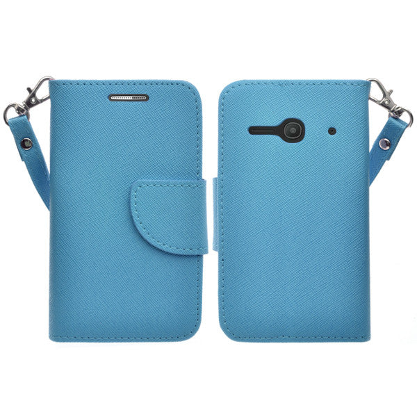 Alcatel Onetouch Evolve 2 Pu leather wallet case - Blue - www.coverlabusa.com