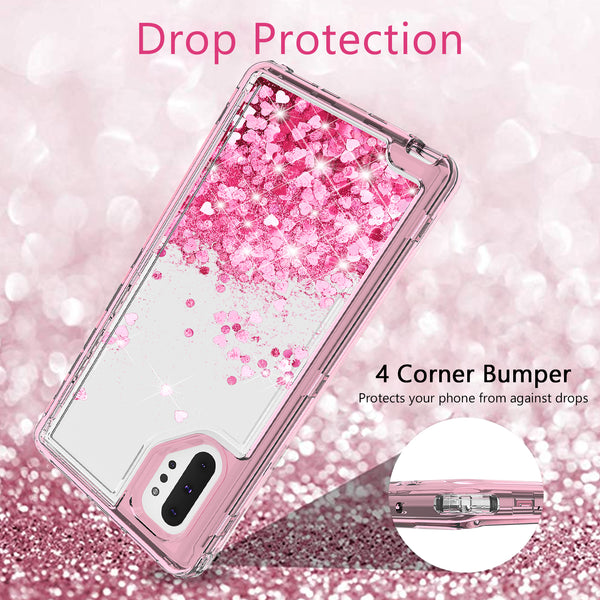 hard clear glitter phone case for samsung galaxy note 10 plus - pink - www.coverlabusa.com
