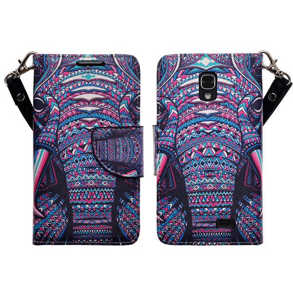 LG F70 Wallet Case [Card Slots + Money Pocket + Kickstand] and Strap - Tribal Elephant