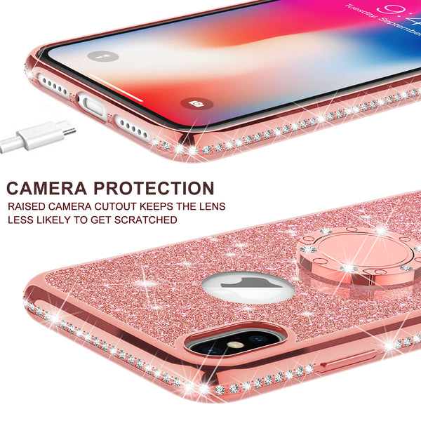 apple iphone xs max glitter bling fashion case - rose gold - www.coverlabusa.com