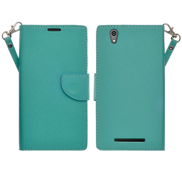 ZTE ZMAX leather wallet case - teal - www.coverlabusa.com