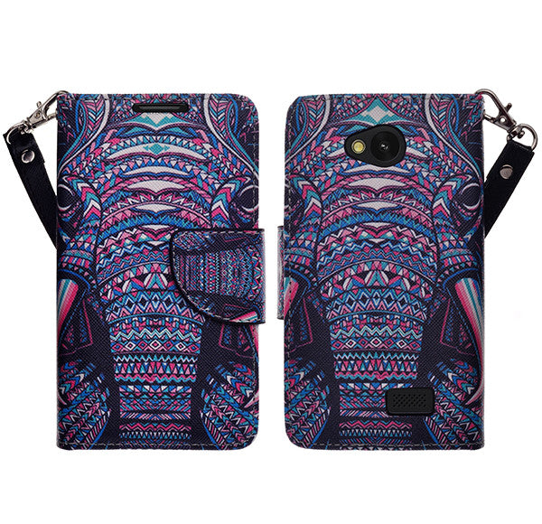LG F60 Wallet Case [Card Slots + Money Pocket + Kickstand] and Strap - Tribal Elephant