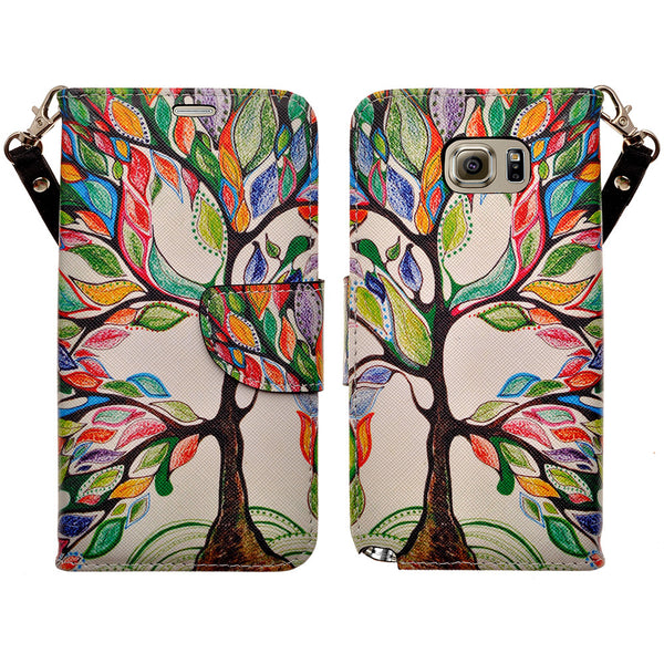 amsung galaxy note5 leather wallet case - colorful tree - www.coverlabusa.com