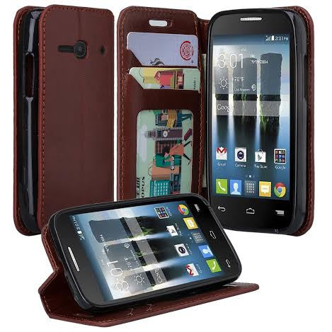 Alcatel Pixi Eclipse Wallet Case, Brown, www.coverlabusa.com