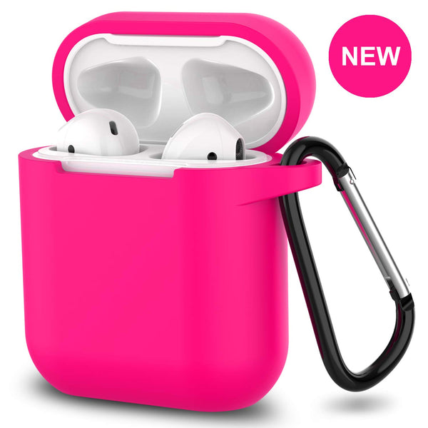 apple airpods charging case silicone cover - www.coverlabusa.com - hot pink
