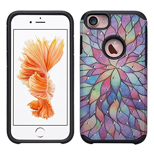 iphone 6 / 6s hybrid diamond - rainbow flower - www.coverlabusa.com