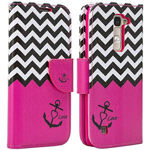 LG K8, Phoenix 2, Escape 3, premier wallet case - hot pink anchor - www.coverlabusa.com