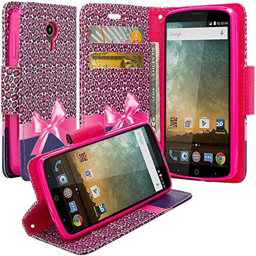 ZTE Prestige | Sonata 3 | Avid Plus | Avid Trio | Chapel Wallet Case [Card Slots + Money Pocket + Kickstand] and Strap - Cheetah Prints