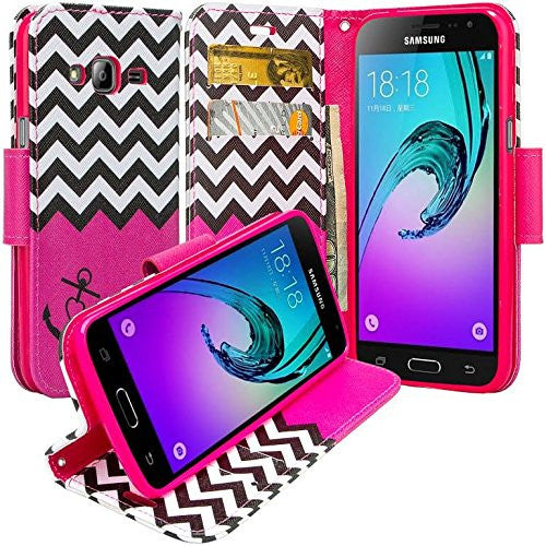 Galaxy J7 2016 Case, J710 wallet case - hot pink anchor - WWW.COVERLABUSA.COM