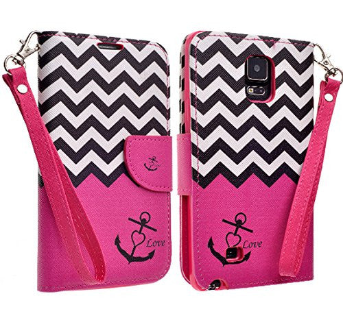 samsung galaxy note 4 wallet case - hot pink anchor - www.coverlabusa.com