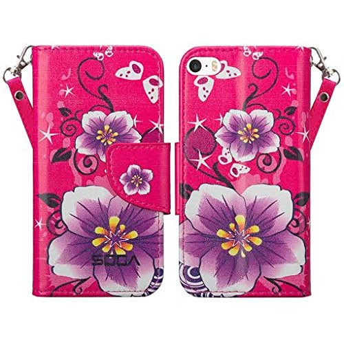 apple iphone SE 5S 5 leather wallet case - purple flower - www.coverlabusa.com