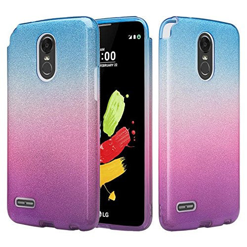 LG Aristo 2 Plus Case, Aristo 2, LG Tribute Dynasty, Rebel 3, Zone 4, Slim  Glitter Shine Hybrid TPU Case with Hard Casing - Blue