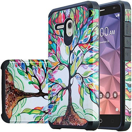 Alcatel Pixi Glory Case, Flint, Fierce XL, Jitterbug Smart, Slim Hybrid Dual Layer Case - tree - www.coverlabusa.com