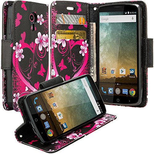 ZTE Prestige | Sonata 3 | Avid Plus | Avid Trio | Chapel Wallet Case [Card Slots + Money Pocket + Kickstand] and Strap - Heart Butterflies - www.coverlabusa.com