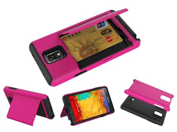 samsung galaxy note 4 case with card slot - hot pink - www.coverlabusa.com