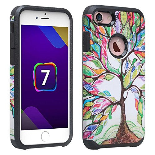 iphone 7 case, iphone 7 hybrid caseApple iPhone 7 Case, Slim Hybrid Dual Layer Case for Iphone 7 - Colorful Tree