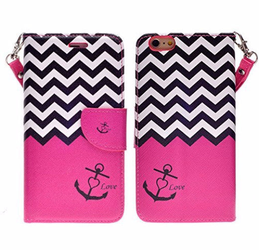 iphone 6 case, iphone 6 wallet case - hot pink anchor - www.coverlabusa.com