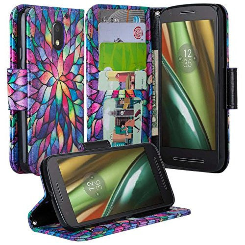 motorola Moto G4 Case | Moto G4 Plus leather wallet magnetic fold case - rainbow flower - www.coverlabusa.com