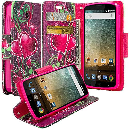 ZTE Prestige | Sonata 3 | Avid Plus | Avid Trio | Chapel Wallet Case [Card Slots + Money Pocket + Kickstand] and Strap - Heart Strings
