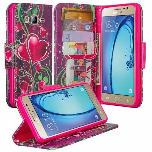 samsung galaxy on5 PU leather wallet case - heart strings - www.coverlabusa.com