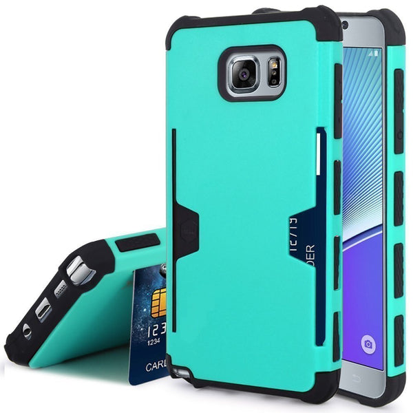 samsung galaxy note 5 case - teal hybrid with card slot - www.coverlabusa.com
