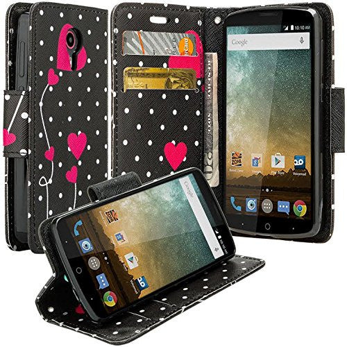 ZTE Prestige | Sonata 3 | Avid Plus | Avid Trio | Chapel Wallet Case [Card Slots + Money Pocket + Kickstand] and Strap - Polka Dot Hearts