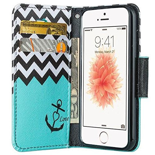 apple iphone SE 5S 5 leather wallet case - teal anchor - www.coverlabusa.com
