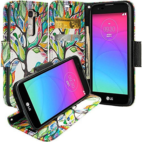 Alcatel Onetouch Evolve 2 Pu leather wallet case - colorful tree - www.coverlabusa.com