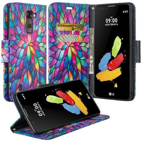 Alcatel Onetouch Evolve 2 Pu leather wallet case - rainbow flower - www.coverlabusa.com