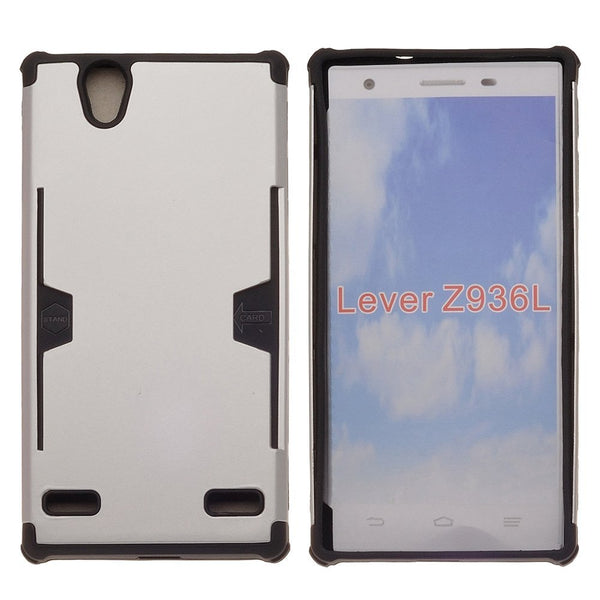 ZTE Lever LTE | Z936L Case, Slim Hard Dual Layer Armor Cover with Card Slots - Silver