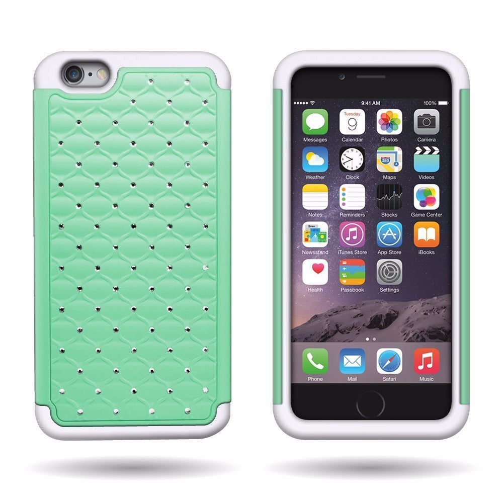 iphone 6s plus case, apple iphone 6 plus diamond rhinestone hybrid case - teal - www.coverlabusa.com