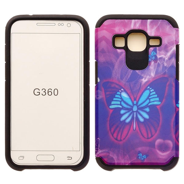 Samsung Core Prime Hybrid Protective Case Cover , WWW.COVERLABUSA.COM purple butterfly