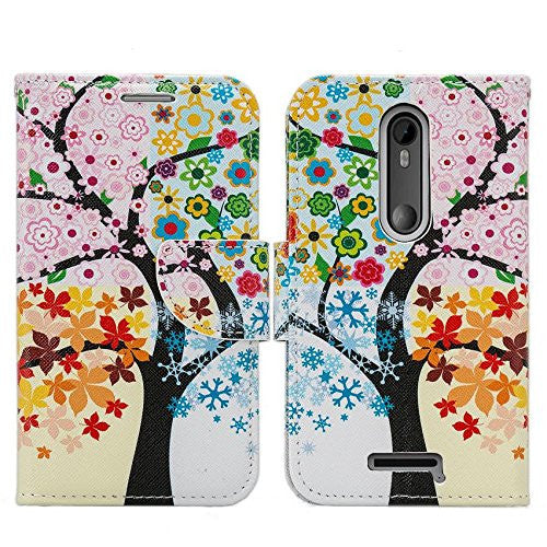 Motorola Droid Turbo 2 Case | Moto X Force Case | Kinzie Bounce Pu Leather Wallet Case - colorful tree - www.coverlabusa.com