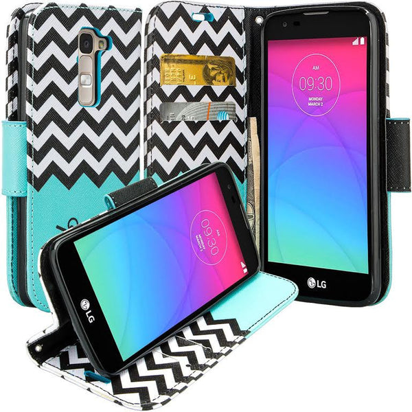 LG K7 / Tribute 5 / Treasure Wallet Case, Wrist Strap [Kickstand] Pu Leather Wallet Case with ID & Credit Card Slots - TEAL CHEVRON www.coverlabusa.com