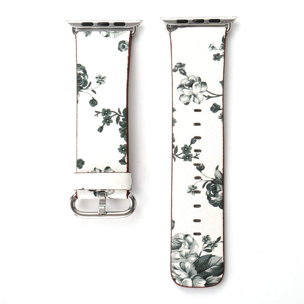 Black Floral Printed Leather Watch Band 42mm Strap - white grey flower - www.coverlabusa.com