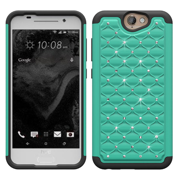 HTC One A9 Rhinestone Case - Teal/Black - www.coverlabusa.com