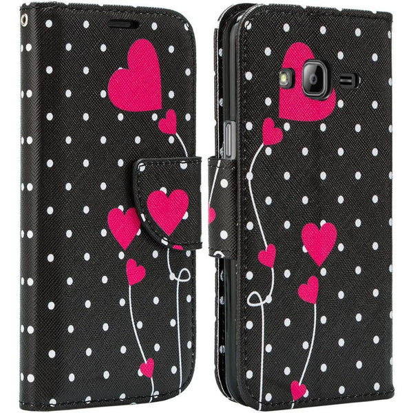 Galaxy Go Prime / Grand Prime Wallet Case polka dot heart, www.coverlabusa.com