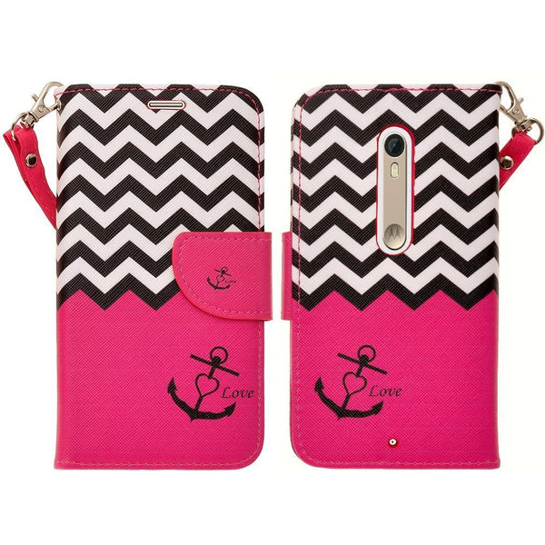 Motorola Droid Turbo 2 Case | Moto X Force Case | Kinzie Bounce Pu Leather Wallet Case - hot pink anchor - www.coverlabusa.com